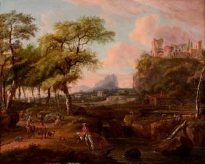 Zuidelijk landschap met valkenjagers, in de verte een stad op een berg