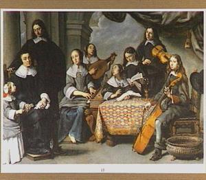 Groepsportret van een musicerende familie