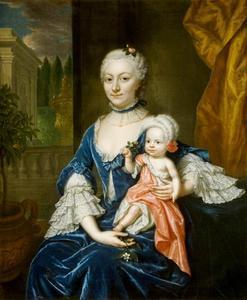 Portret van Elisabeth Aletta Slicher (1727-1769) met een kind, mogelijk haar oudste zoon Ewoud van der Dussen (1750-?)