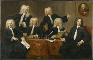 Portret van zes overlieden van het chirurgijnsgilde: de deken Abraham Titsingh, A. Vermey, Wichard van Wesik, Johannes de Bruyn, Willem Monnikhoff en Cornelis van der Swed; rechts aan de muur een portret van prof. Willem Roëll