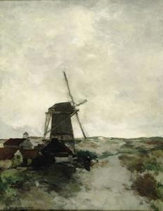 Heidelandschap met molen