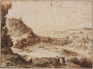 Bergachtig rivierlandschap met stroomversnelling