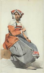 Figuurstudie van een Italiaanse vrouw in streekdracht