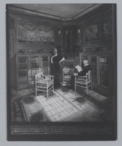 Een door H.P. Berlage ontworpen interieur met wandschilderingen door R.N. Roland Holst op de Internationale Baufach-Ausstellung te Leipzig in 1913