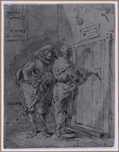 Een monnik opent de deur voor Quevedo (Suenos 1641, boek I, tweede droom)