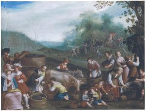 De vier seizoenen: de herfst, een landschap met de druivenoogst, het wijnmaken en de verering van Bacchus