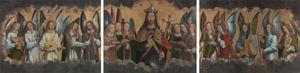 Vijf musicerende engelen (links), Zegenende Christus omringd door zes zingende engelen (midden), Vijf musicerende engelen (rechts)