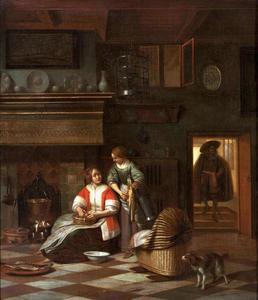 Keukeninterieur met een kokende vrouw en een dienstmeid