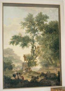 Klassiek arcadisch landschap met standbeeld van Hades en Proserpina