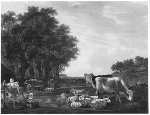 Weidelandschap met vee, melkmeid en kinderen