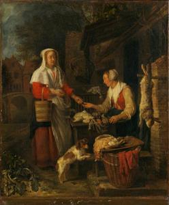 Vrouw die gevogelte verkoopt aan een klant