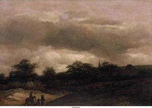 Duinlandschap met reizigers en een herder; in het verschiet een kerktoren