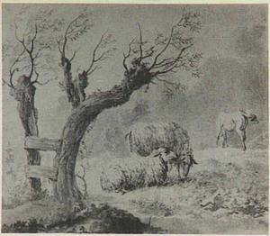 Landschap met schapen en een paard