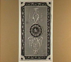 Wanddecoratie met zittende figuur in medaillon