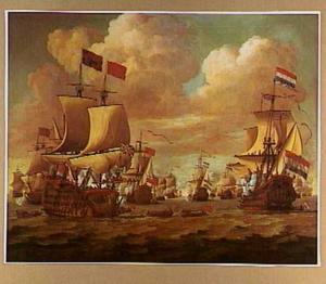 Engelse en Hollandse schepen wisselen saluutschoten uit