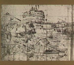 Rome, Castel Sant'Angelo ofwel de Engelenburcht vanuit het zuiden