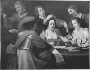 Musicerend gezelschap aan een tafel