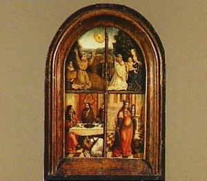De H. Franciscus ontvangt de stigmata (linksboven), het visioen van de H. Bernardus van Clairvaux (rechtsboven), Maria Magdalena wast de voeten van Christus (linksonder), de H. Catharina (rechtsonder)