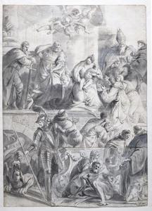 Maria met Kind vereerd door heiligen