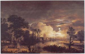 De Amstel bij zonsondergang, huis Kostverloren in de achtergrond