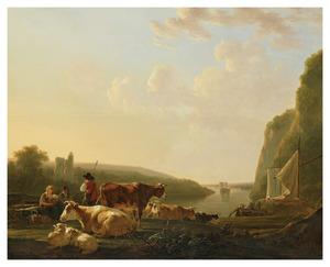 Herders en vee aan de oever van een rivier