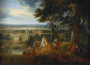 Landschap met Rudolf van Habsburg die zijn paard aan een priester met het H. Sacrament geeft