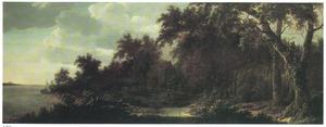 Dorp in een bos langs een rivier