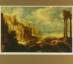 Berglandschap met ruïnes