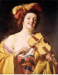 Vioolspelende jonge vrouw