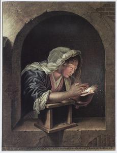 Vrouw blazend op kooltjes vuur in een pot, in een trompe l'oeil nis