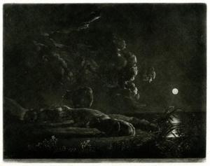Vee bij een rivier in maanlicht
