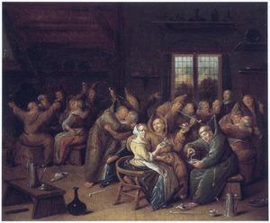 Feestende en slempende monniken in een herberg