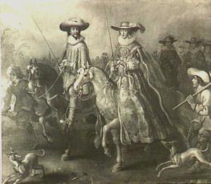 Frederick V (1596-1632), keurvorst van de Palts, koning van Bohemen, en zijn echtgenote Elisabeth Stuart (1596-1662) te paard