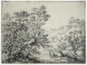 Boomrijk heuvellandschap met Tobias en de engel onderweg naar Ekbatana (Tobit 4-6)
