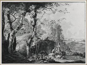 Zuidelijk heuvellandschap met hoornblazende jager en jachthonden