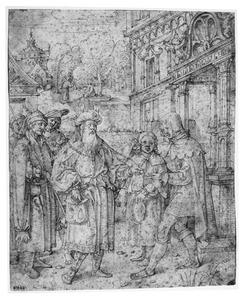 Jozef naar Egypte verkocht; in de achtergrond: Potphars vrouw probeert Jozef te verleiden (Genesis 37:12-35)