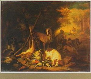 Rustende jager met vijf honden en jachtbuit in een landschap