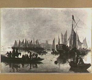 Gezicht op Dordrecht met linksvoor een veerpont