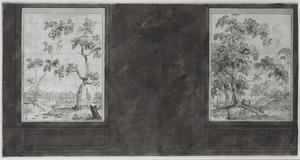 Zijwand met wee behangselvlakken met landschappen ter weerszijden van een porte-brisée