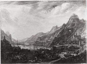 Rivierlandschap in bergachtige regio