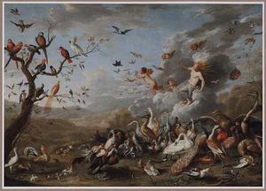 Aurora met velerlei vogels: allegorie op de luchtDe lucht
