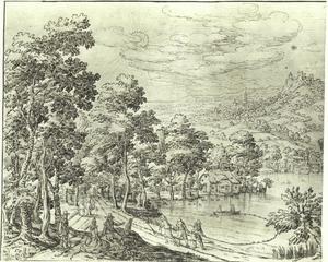 Landschap met vissers en sleepnet op het meer