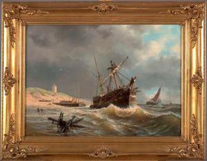 Een gestrand barkschip