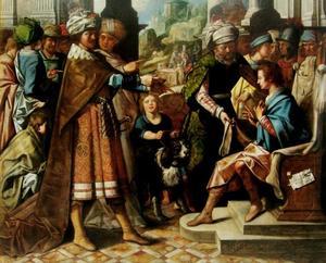 De justitie van koning Cambyses: Otanes neemt plaats op de zetel van zijn vader Sesamnes