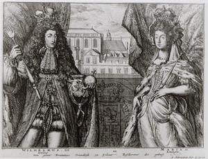 Dubbelportret van Willem III van Oranje-Nassau (1650-1702)  en Maria Stuart II (1662-1695)