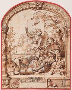 Heilige Rochus en een engel in een architecturale omlijsting