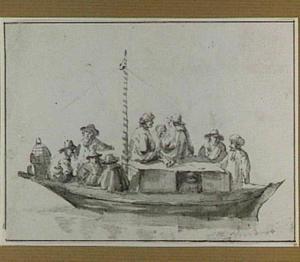Een trekschuit met passagiers