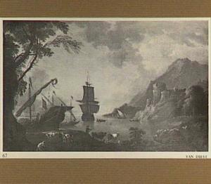Italiaans kustlandschap met zeilschepen in een baai; in de voorgrond een herder met vee
