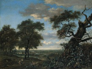 Weids landschap met op de voorgrond rustende reizigers aan een bosrand