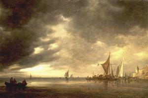 Riviergezicht met diverse schepen bij slecht weer